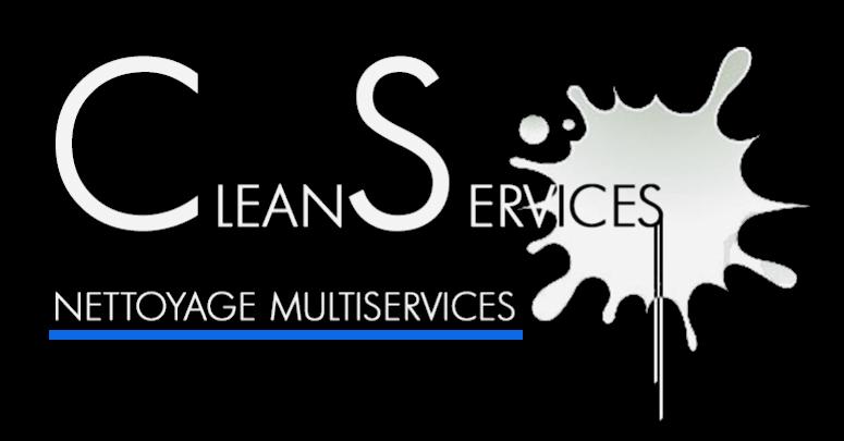 Logo Clean Services blanc bande bleue